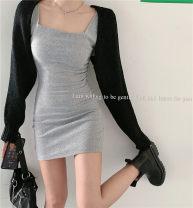 Dress Summer 2021 Black vest, grey vest, black cardigan, white cardigan Average size Short skirt commute square neck routine 18-24 years old Korean version 31% (inclusive) - 50% (inclusive) other