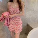 Dress Summer 2021 S,M,L Short skirt singleton  Sleeveless commute One word collar High waist Solid color One pace skirt routine camisole 18-24 years old Type X Retro 31% (inclusive) - 50% (inclusive) Chiffon other