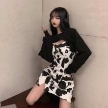 Dress Spring 2021 White sweater, black sweater, blue zebra suspender skirt, cow suspender skirt S,M,L commute 18-24 years old Korean version 31% (inclusive) - 50% (inclusive) other