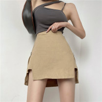 skirt Summer 2021 50. M, s, one size fits all Black skirt 9008, army green skirt 9008, card color skirt 9008, black sling 9002, gray sling 9002, white sling 9002 Short skirt Versatile High waist A-line skirt Solid color Type A 18-24 years old 9002+9008 31% (inclusive) - 50% (inclusive) other other