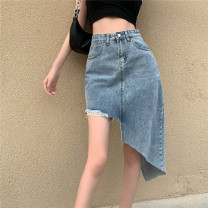 skirt Summer 2021 S,M,L blue commute High waist Irregular Solid color Type A 18-24 years old other Korean version