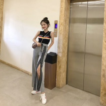 Fashion suit Summer of 2018 Average size Black coat white coat grey trousers 18-25 years old Other / other