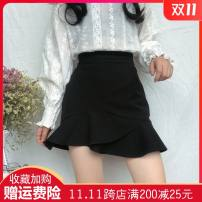 skirt Summer of 2019 M,L,XL,2XL,3XL,4XL black Short skirt commute High waist Ruffle Skirt Solid color Type A 18-24 years old 71% (inclusive) - 80% (inclusive) polyester fiber Ruffles, zippers Korean version 161g / m ^ 2 (including) - 180g / m ^ 2 (including)