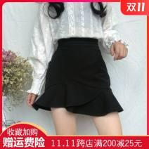 skirt Summer of 2019 M,L,XL,2XL,3XL,4XL black Short skirt commute High waist Ruffle Skirt Solid color Type A 18-24 years old 71% (inclusive) - 80% (inclusive) polyester fiber Ruffles, zippers Korean version 161g / m ^ 2 (including) - 180g / m ^ 2 (including)