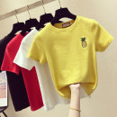 T-shirt White, black, red, yellow S,M,L,XL Spring of 2019 Short sleeve Crew neck Self cultivation Regular routine commute cotton 31% (inclusive) - 50% (inclusive) 25-29 years old Korean version Plants and flowers Other / other Embroidery