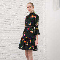 Dress Fall 2017 Black, white S,XL,2XL,L,M longuette singleton  Nine point sleeve commute stand collar High waist Broken flowers zipper Pleated skirt pagoda sleeve Others 25-29 years old Uesomes Retro A17W-004Q More than 95% other