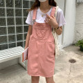 Dress Summer 2021 Blue, apricot, pink Average size Short skirt singleton  Sleeveless commute High waist Solid color other other straps 18-24 years old Type H Korean version Pockets, stitching, straps, buttons L8610 More than 95% other cotton