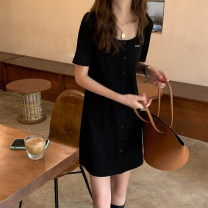 Dress Summer 2021 black S,M,L Short skirt singleton  Short sleeve commute Crew neck High waist Solid color Socket A-line skirt routine Others 18-24 years old Type A Korean version Button, button L25273 91% (inclusive) - 95% (inclusive) other cotton