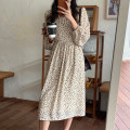 Dress Autumn 2020 Light beige, coffee M, L Mid length dress Fake two pieces Long sleeves commute High collar High waist Broken flowers Socket other Breast wrapping 18-24 years old Type X Korean version L86235 More than 95% polyester fiber