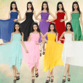 Dress Autumn of 2018 Black, white, yellow, red, light green, emerald green, blue, purple, pink Average size Mid length dress singleton  Sleeveless commute One word collar middle-waisted Solid color Socket Irregular skirt other camisole 25-29 years old Type A Bright and popular lady brocade nylon