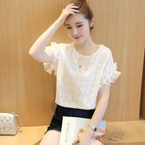 Lace / Chiffon Summer of 2018 white S,M,L,XL,2XL,3XL Short sleeve commute Socket singleton  easy Regular Crew neck Solid color Lotus leaf sleeve 25-29 years old Other / other Bow tie, Auricularia auricula Korean version 71% (inclusive) - 80% (inclusive) nylon