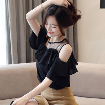 Lace / Chiffon Summer 2020 S M L XL XXL Short sleeve commute Socket singleton  easy Regular Crew neck Solid color Lotus leaf sleeve 25-29 years old Han Xianer GD747.9936 Lotus leaf edge Other 100% Pure e-commerce (online only)
