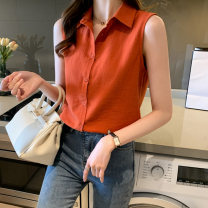 Lace / Chiffon Summer 2021 White black orange yellow S M L XL XXL Sleeveless commute Cardigan singleton  Straight cylinder Regular Polo collar Solid color 25-29 years old Han Xianer Button lady Polyester 100% Pure e-commerce (online only)
