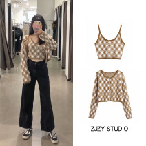 Fashion suit Autumn 2020 S,M,L Knitted cardigan, suspender top