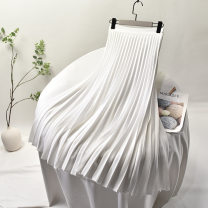 skirt Spring 2020 M, L Black, white, Navy, beige longuette grace High waist Pleated skirt Solid color Type A 25-29 years old Fold, wave, zipper
