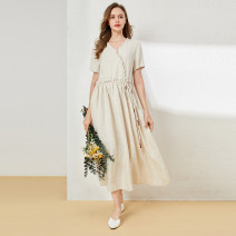 Dress Summer 2021 Apricot M L XL longuette singleton  Short sleeve commute V-neck High waist Solid color Socket A-line skirt routine 25-29 years old Type A Xiangsi'er Frenulum More than 95% other Other 100%
