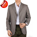 man 's suit New European clothes Business gentleman routine Polyethylene terephthalate (PET) 65% viscose (viscose) 35% easy Double breasted Other leisure No slits middle age Long sleeves autumn routine Business Casual Casual clothes Flat lapel Round hem lattice Regular collar (collar width 7-9cm)