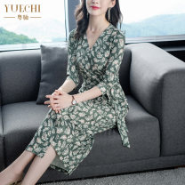 Dress Spring 2021 993 green M L XL XXL XXXL longuette singleton  three quarter sleeve commute V-neck middle-waisted Decor other One pace skirt routine Breast wrapping 35-39 years old Type H Yuechi Ol style Pleated lace up tie dye printing HY993 91% (inclusive) - 95% (inclusive) other polyester fiber