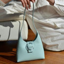Bag The single shoulder bag PU Crescent bag Pipas White light blue apricot brand new Japan and South Korea Small leisure time soft Magnetic buckle no Solid color Single root One shoulder hand nothing youth Horizontal square Belt decoration Soft handle polyester cotton MDD61018086 Artificial leather