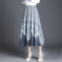 skirt Spring 2021 One size fits all (about 90-140 kg) Blue, light green, pink Mid length dress Versatile High waist Pleated skirt Decor Type A 25-29 years old ZY8083 Fold, line decoration, stitching, lace