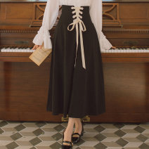 skirt Spring 2020 S,M,L Black skirt Mid length dress Retro High waist A-line skirt Solid color Type A 18-24 years old 51% (inclusive) - 70% (inclusive) cotton bow 121g / m ^ 2 (including) - 140g / m ^ 2 (including)
