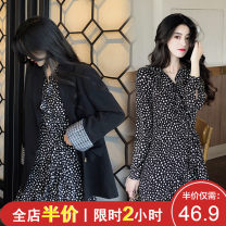 Women's large Spring 2021 Chiffon polka dot skirt [high end dress, fried Street skirt] black suit coat [chic design minority] polka dot skirt + suit suit [Hong Kong style suit, women's Retro chic] skirt Two piece set Sweet easy thickening Socket Long sleeves Floral dot stripe check solid puff sleeve