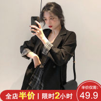 Women's large Spring 2020 Black suit single piece [celebrity little fragrance / European and American products / best friend / Hong Kong style retro chic] plaid skirt single piece black suit + plaid skirt suit skirt Two piece set Sweet easy thickening Socket Long sleeves Floral dot stripe check solid