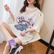 T-shirt Black, pink, white XL,L,M,XXL Summer 2020 Short sleeve Crew neck easy Regular routine polyester fiber 51% (inclusive) - 70% (inclusive) 18-24 years old Print, lace, stitching