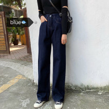 Women's large Winter of 2019, autumn of 2019 Dark blue M (recommendation 90-100), l (recommendation 100-120), XL (recommendation 120-140), 2XL (recommendation 140-160), 3XL (recommendation 160-180), 4XL (recommendation 180-200) trousers commute Straight cylinder moderate Korean version trousers