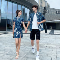 Dress Summer 2020 Women's skirt, men's shirt, men's trousers, men's suit (shirt + trousers), white with short sleeves S,M,L,XL,2XL,3XL Middle-skirt singleton  Short sleeve commute stand collar Animal design routine 18-24 years old Type H Other / other Retro 71% (inclusive) - 80% (inclusive)