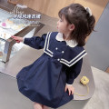 Dress White blue female Mikir / mikir 90cm 100cm 110cm 120cm 130cm Cotton 95% other 5% spring and autumn Korean version Long sleeves Solid color cotton A-line skirt F047 Class A Spring 2021 12 months, 18 months, 2 years old, 3 years old, 4 years old, 5 years old, 6 years old Chinese Mainland