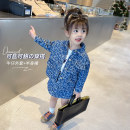 suit Mikir / mikir Denim blue 90cm 100cm 110cm 120cm 130cm female spring and autumn Korean version Long sleeve + skirt 2 pieces routine There are models in the real shooting Single breasted nothing letter cotton children Expression of love F054 Class B Cotton 65% other 35% Spring 2021