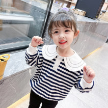 Sweater / sweater Mikir / mikir Black stripe female 90cm 100cm 110cm 120cm 130cm spring and autumn nothing Korean version Socket routine There are models in the real shooting cotton stripe Cotton 95% other 5% F024 Class A Cotton liner Spring 2021