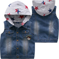 Vest male 1098 Blue Denim Vest 90cm 100cm 110cm 120cm 130cm Bright bear baby spring and autumn routine Official pictures Single breasted leisure time Cartoon animation Cotton 60.8% polyester 26.4% polyurethane elastic 1.4% others 11.4% B1098