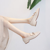 Low top shoes 34,35,36,37,38,39 Other / other Apricot, black Square head Superfine fiber Thick heel Low heel (1-3cm) Midmouth Superfine fiber Spring 2021 Trochanter Korean version Sewing shoes Youth (18-40 years old) Solid color rubber Single shoes Bow tie, thick heel Microfiber skin daily