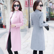 woolen coat Winter 2017 S M L XL XXL polyester 71% (inclusive) - 80% (inclusive) Medium length Long sleeves commute A button routine stand collar Solid color Self cultivation Korean version Crystal color lattice 30-34 years old Pocket button Flower table polyester fiber Pure e-commerce (online only)