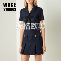 Dress Autumn 2020 navy blue 36,38,40 Short skirt singleton  Short sleeve commute tailored collar middle-waisted Solid color A button A-line skirt routine Others Type A 51% (inclusive) - 70% (inclusive) polyester fiber