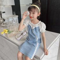 Dress Denim blue female Princess Yuanyuan 110cm 120cm 130cm 140cm 150cm 160cm Other 100% summer lady Short sleeve Broken flowers other A-line skirt Class B Spring 2021 Chinese Mainland