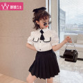 suit Princess Yuanyuan Black Pink 110cm 120cm 130cm 140cm 150cm 160cm female summer college Short sleeve + skirt 2 pieces routine There are models in the real shooting Single breasted nothing Solid color children perform Class B Summer 2021 Chinese Mainland