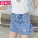 skirt 110cm 120cm 130cm 140cm 150cm 160cm Denim blue Princess Yuanyuan female Other 100% summer skirt Korean version Broken flowers One pace skirt other Class B Summer 2021