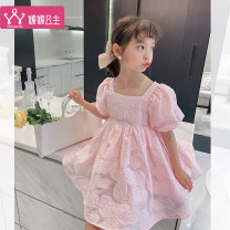 Dress Pink Blue female Princess Yuanyuan 110cm 120cm 130cm 140cm 150cm 160cm Other 100% summer lady Short sleeve Solid color other Fluffy skirt Class B Summer 2021