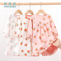 Home skirt / Nightgown Soft cotton Cotton 100% summer female 12 months, 18 months, 2 years old, 3 years old, 4 years old, 5 years old, 6 years old and 7 years old Sweat absorption and moisture absorption at home Class A Pure cotton (100% cotton content) Summer 2021