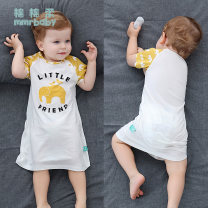 Home Gown / Nightgown Cotton 100% Soft cotton Class A neutral spring 12 months under 1 year old 18 months 2 years 3 years 4 years 5 years 6 years 1-3 years 3-5 years old Pure cotton (100% cotton content) Sweat absorption and moisture absorption at home Spring 2021