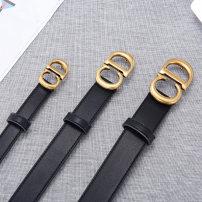 Belt / belt / chain Double skin leather Black 2.0, black. 30, black 3.5 female belt Versatile Single loop Smooth button letter Glossy surface 2.0cm alloy 90cm,95cm,100cm,105cm,110cm,115cm,120cm