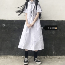 Dress Summer 2021 white S,M,L,XL Mid length dress singleton  Short sleeve Sweet Doll Collar High waist Solid color Socket A-line skirt routine 18-24 years old Other / other Pocket, lace up, stitching 51% (inclusive) - 70% (inclusive) other polyester fiber solar system