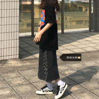 skirt Summer 2021 S,M,L,XL Black grey Mid length dress Retro High waist A-line skirt Solid color 18-24 years old 51% (inclusive) - 70% (inclusive) Denim Other / other cotton zipper
