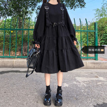 Dress Autumn 2020 Long sleeves S,M,L,XL Mid length dress singleton  Long sleeves commute Crew neck High waist Solid color Socket A-line skirt bishop sleeve 18-24 years old Type A Other / other Korean version