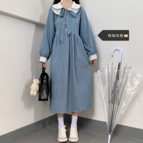Dress Spring 2021 blue S,M,L,XL Mid length dress singleton  Long sleeves Sweet Doll Collar High waist lattice Socket A-line skirt routine 18-24 years old Other / other Bow, button 51% (inclusive) - 70% (inclusive) polyester fiber college