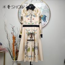 Dress Spring 2021 Decor M,L,XL,2XL longuette singleton  Long sleeves commute Crew neck middle-waisted Decor Socket A-line skirt routine 25-29 years old Type A printing polyester fiber