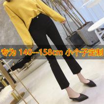 Casual pants black XS,S,M,L,XL,2XL Autumn of 2019 Ninth pants Flared trousers High waist Versatile routine 51% (inclusive) - 70% (inclusive) zipper